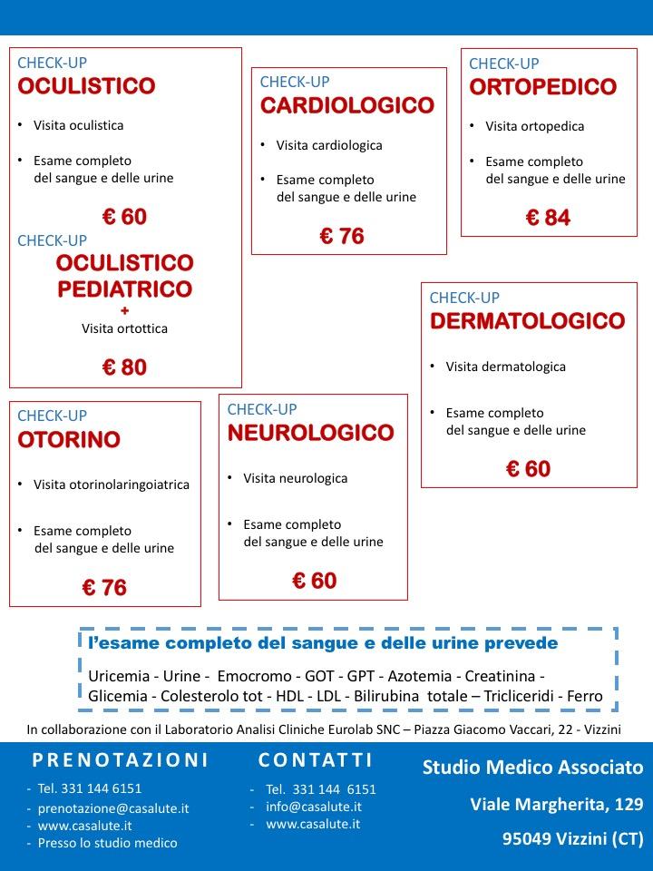 Check up medici salute Visita specialistica esami del sangue